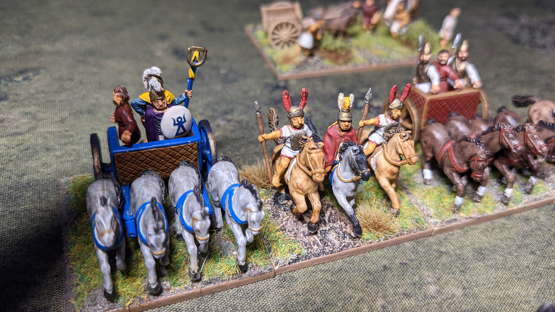 This army has three choices for the general's unit; Heavy Chariot, Cavalry, and Spear infantry.