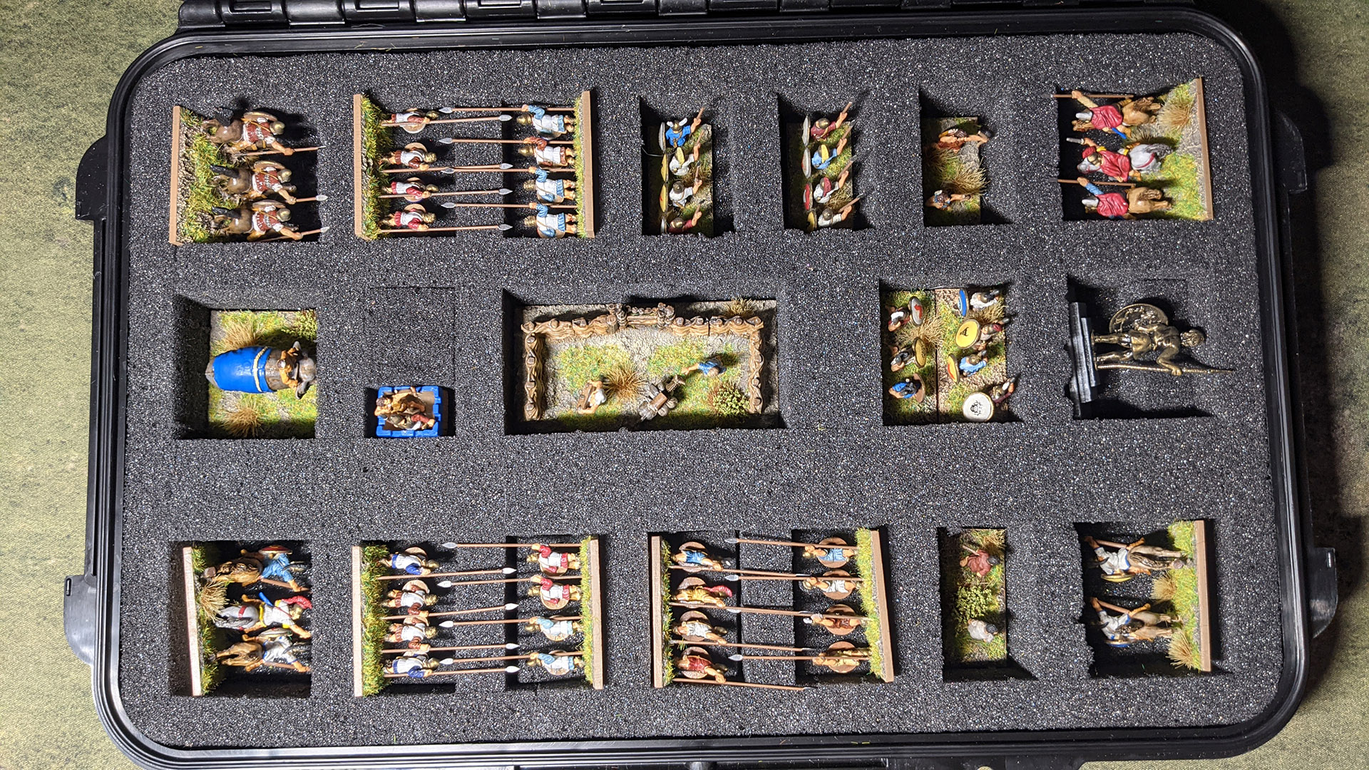 All my DBA armies use the same storage box. I had to get a little inventive with the pike units.